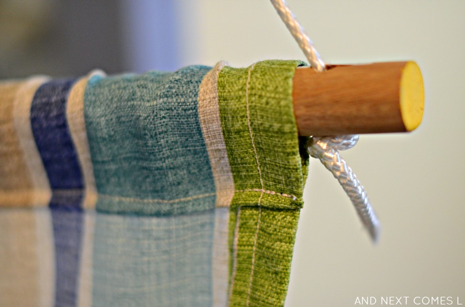 Closeup of DIY taco sensory swing details from And Next Comes L