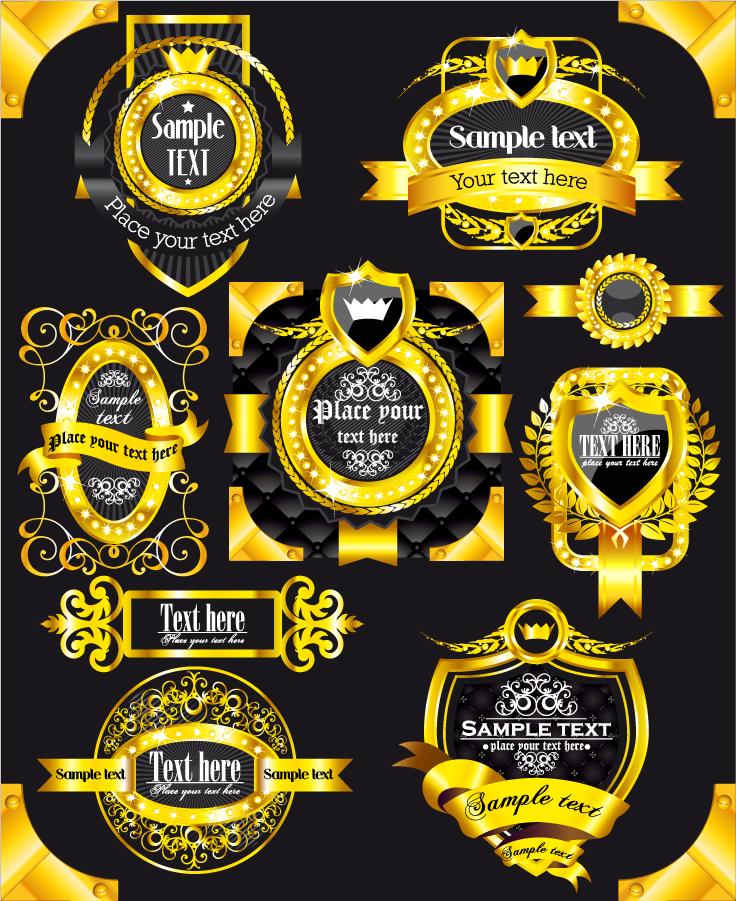 豪華に輝く金色のラベル デザイン gorgeous gold label vector イラスト素材