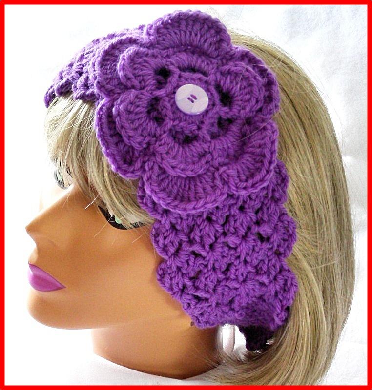 Hermosa Crochet Patrón Hippie Diadema Regalo - Manta de Tejer Patrón ...