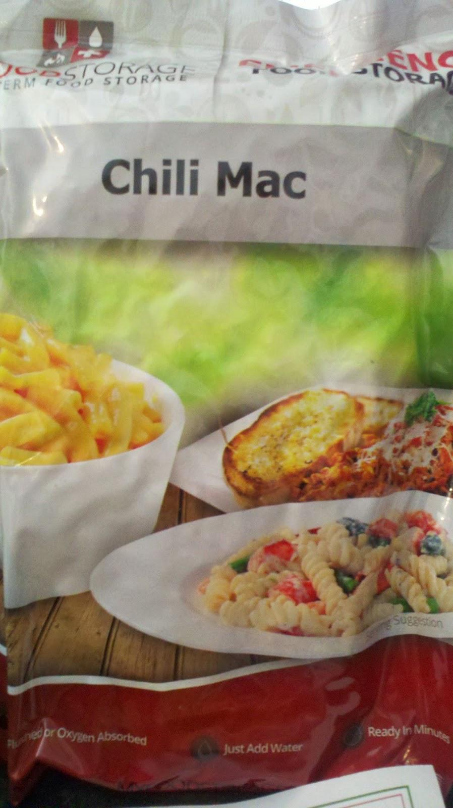 My food storage, MRE, dehydrated foods, MRE chili mac