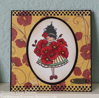 handmade card on black carstock with yellow and red poppies background and Stampingbella Lulu Loves Poppies image colored with Copics