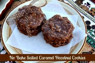 No Bake Salted Caramel <br>Hazelnut Cookies