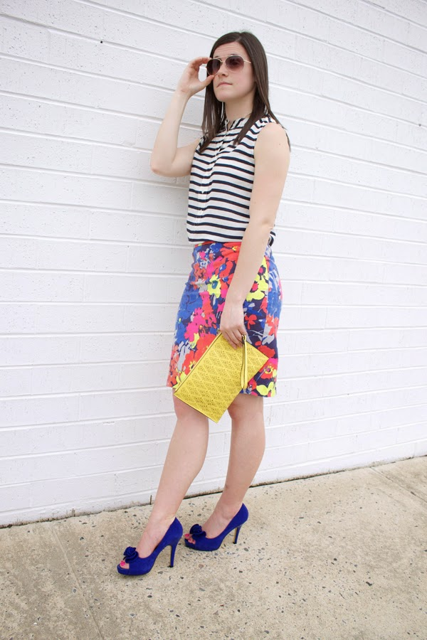 stripes, floral, J.Crew, LOFT skirt, floral skirt, striped top, blue heels, yellow clutch, Aldo clutch