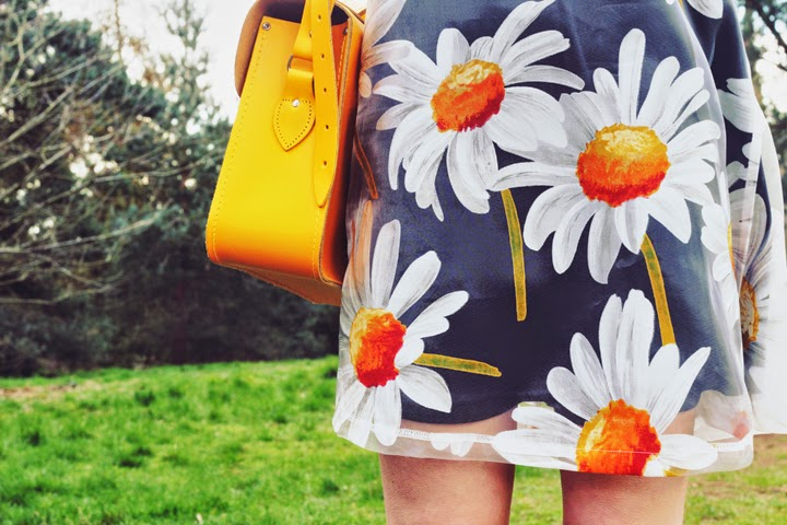 daisy print dress cambridge satchel yellow