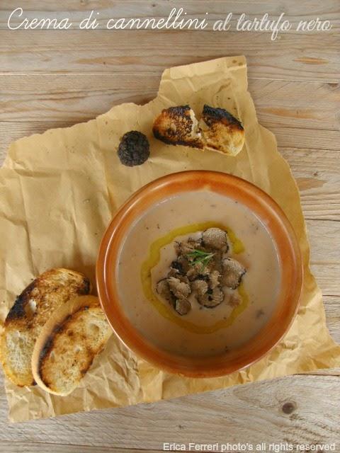 Ricetta Crema di fagioli con carpaccio di tartufo nero