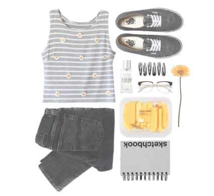 outfit fashion rock flowers jeans yellow black