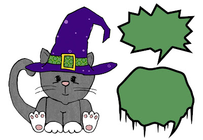 cute halloween kitty cat with witchs hat and scary spooky speech bubbles
