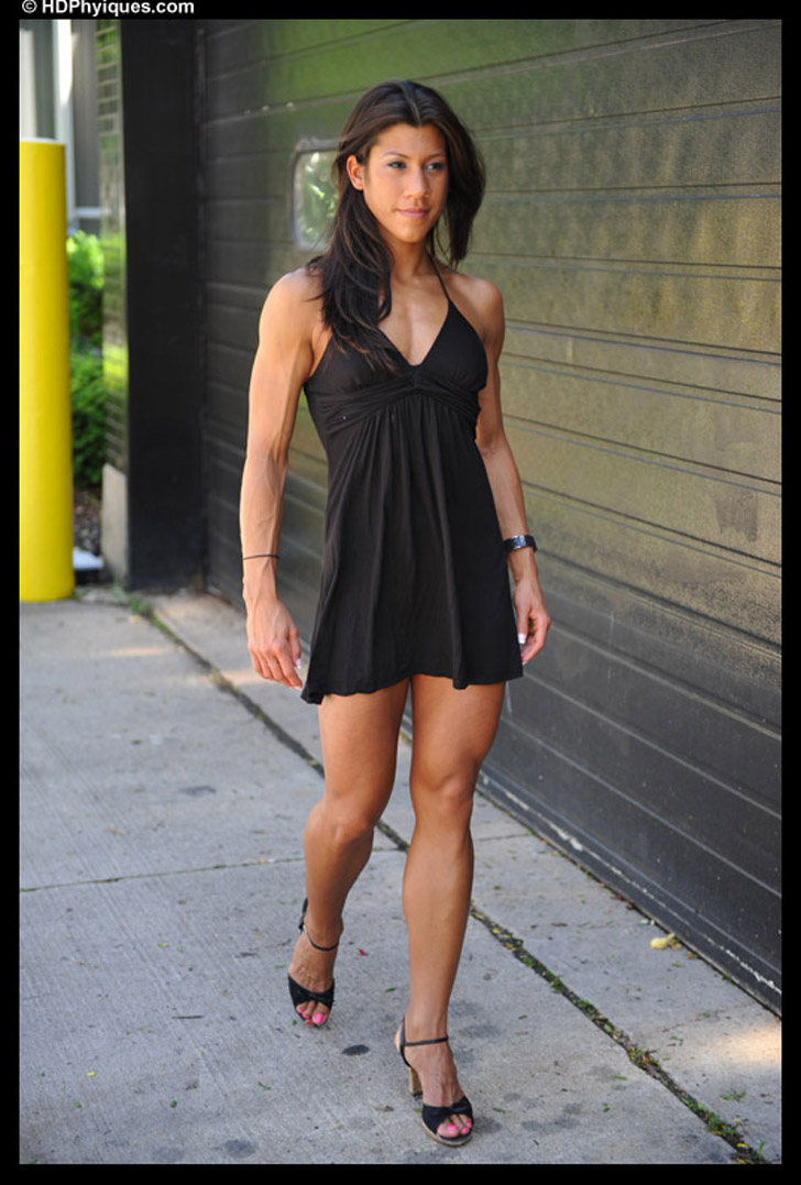 Nicole Pearson Modeling Her Great Legs And Fit Body In A Black Dress