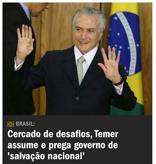 Temer assume interinamente a presidência do Brasil