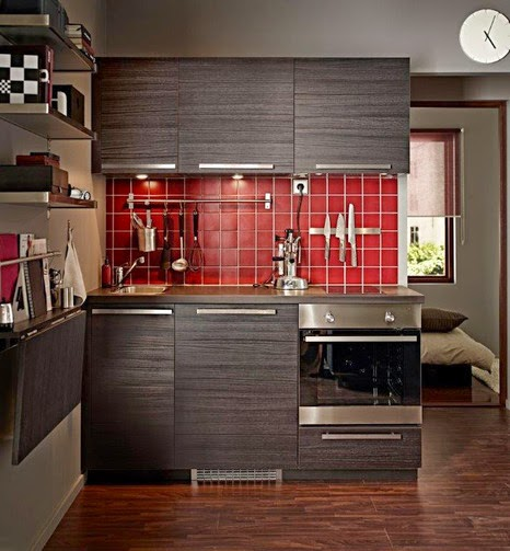 new collection IKEA kitchen units, design, reviews, small kitchen in brown