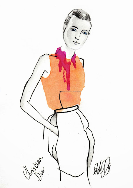 Christian Dior, fashion, illustration, art, illustrator, blogger, drawing, backstage, catwalk, model, ss14, Paris, pfw,