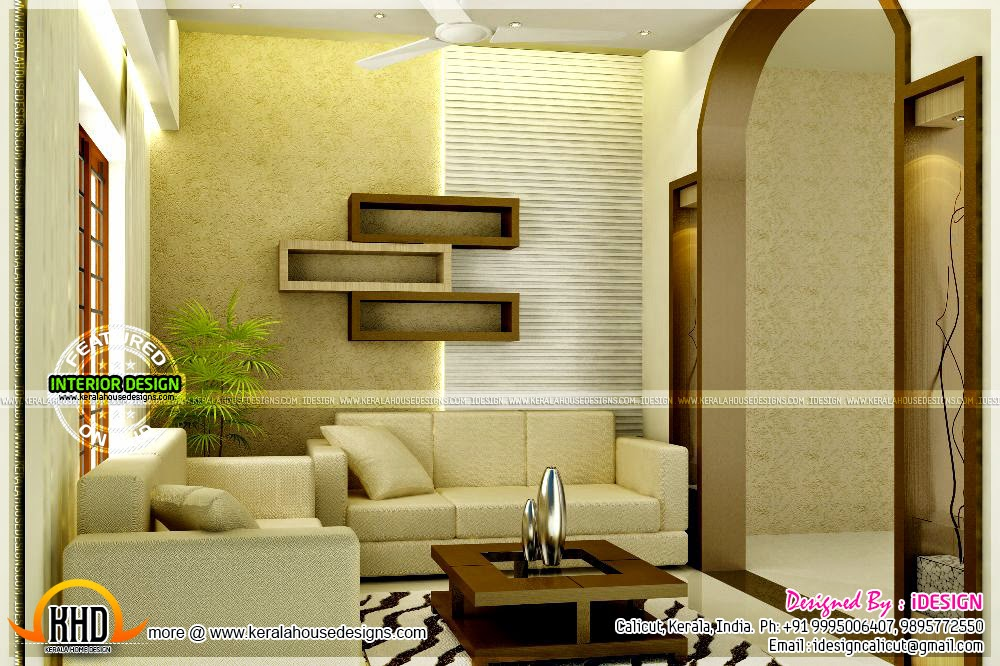 Kitchen master bedroom living interiors home kerala plans for Living room interior in kerala