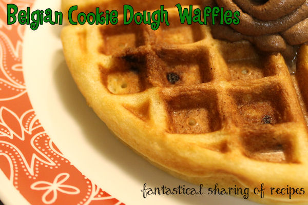 Belgian Cookie Dough Waffles - fluffy, light waffles with cookie dough bits embedded in them. #breakfast #waffles