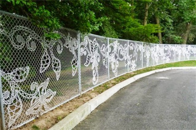 Original Metal Garden Fencing With Decorative Cloth
