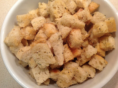 Butter, garlic and herb croutons