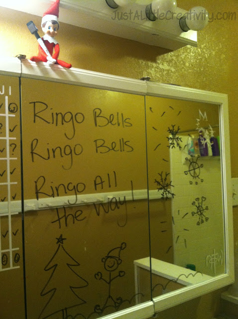 Just a little creativity our elf on the shelf ringo for Elf on the shelf bathroom ideas