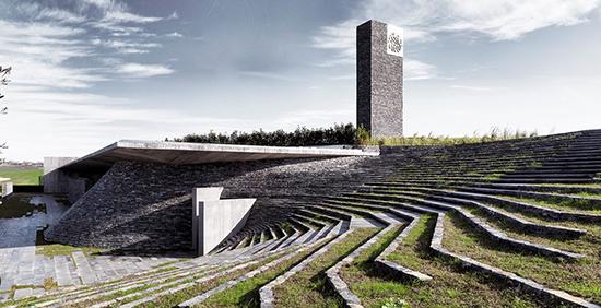 desain masjid minimalis pada lereng