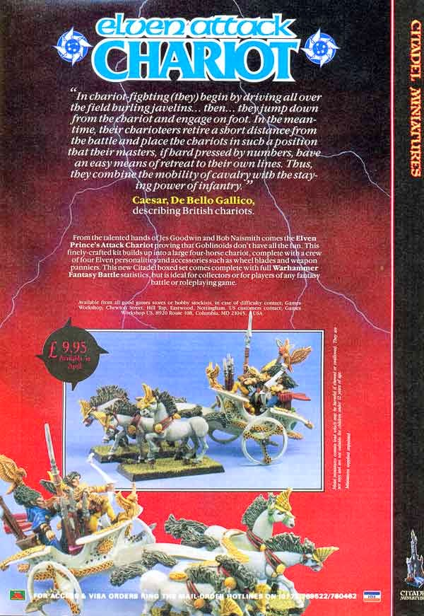 Página de la White Dwarf 88 donde se anuncia el MD04 Elven Attack Chariot