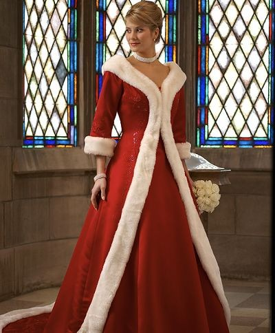 Unique white fur train holiday christmas color red wedding dresses jpg