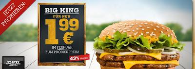 Burger King Happy Hour: Drei Burger für 5,99 Euro + Option auf Pommes und Getränk für 2 Euro