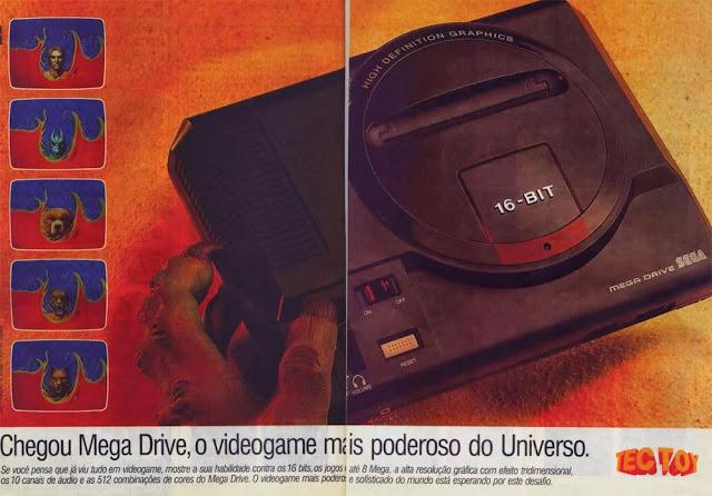 Propaganda do lançamento do Mega Drive (Sega / Tec Toy) em 1990.