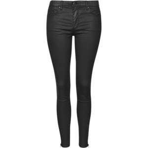 Topshop black zip ankle coated leigh jeans