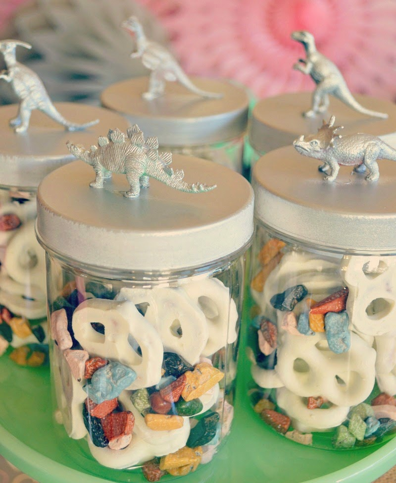 RAWR Means XOXO In Dinosaur Valentine's Day Party jar lids
