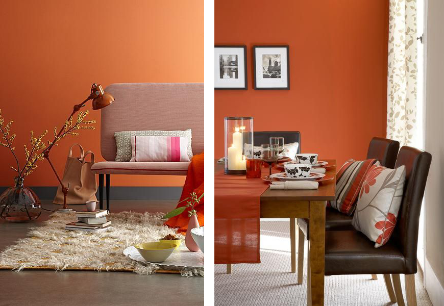 D coration salon mur orange for Peinture rouge salon