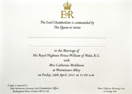 the royal wedding invitation card. An invitation card for; prince