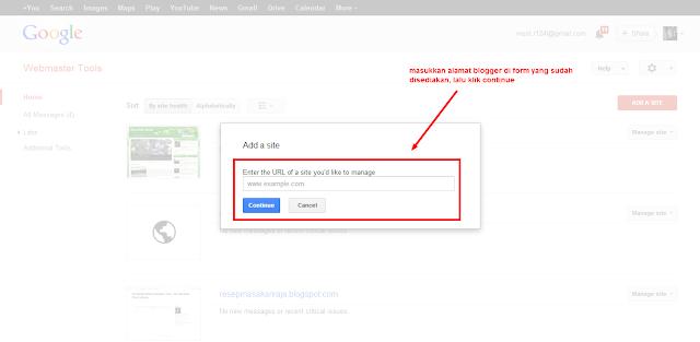 Google Webmaster Add Site