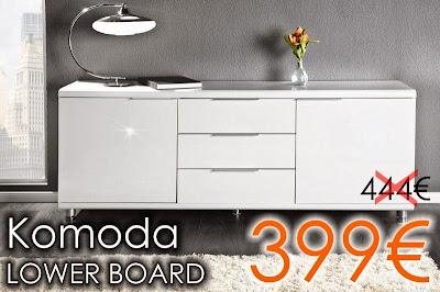 Luxusná komoda v bielej lesklej farbe, luxusny biely nabytok, nabytok skrinky so zasuvkami