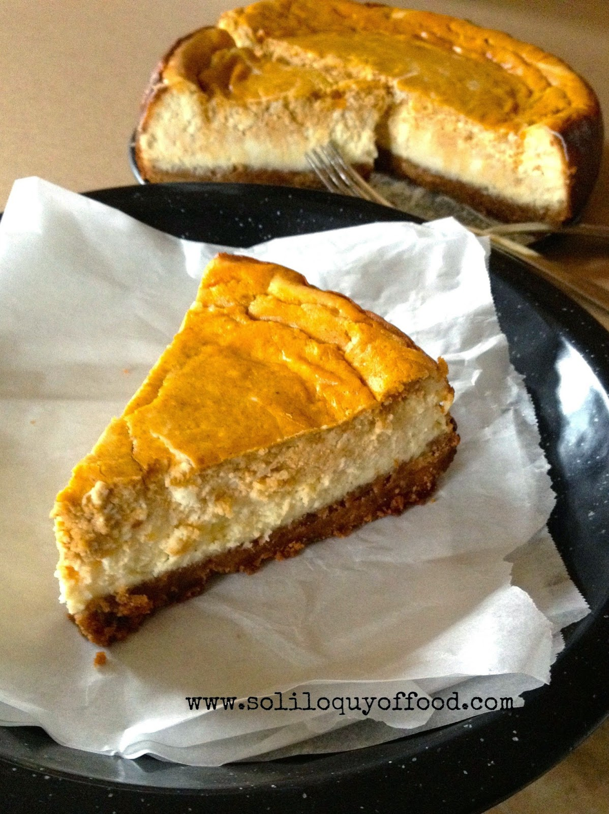 Pumpkin Layer Cheesecake - Contributor post from Kim at www.soliloquyoffood.com