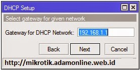 Gateway of DHCP Server