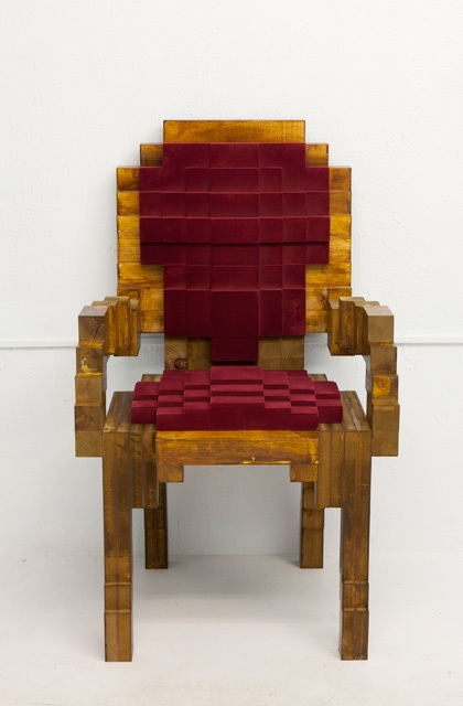 Pixelated Chair Thinking In Squares