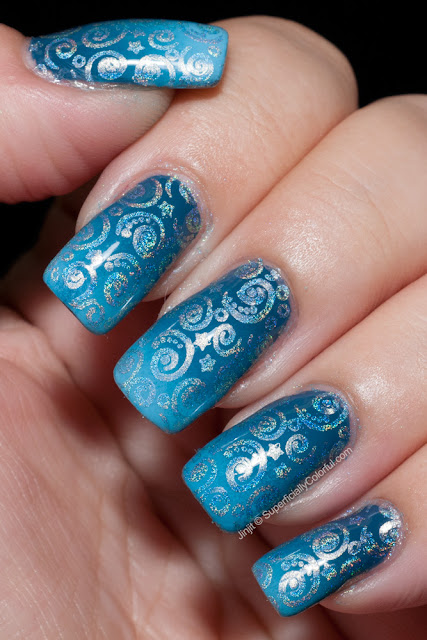 Sinful Colors Rain Storm Ocean Side China Glaze Bahamian Escape Nail Art Stamping