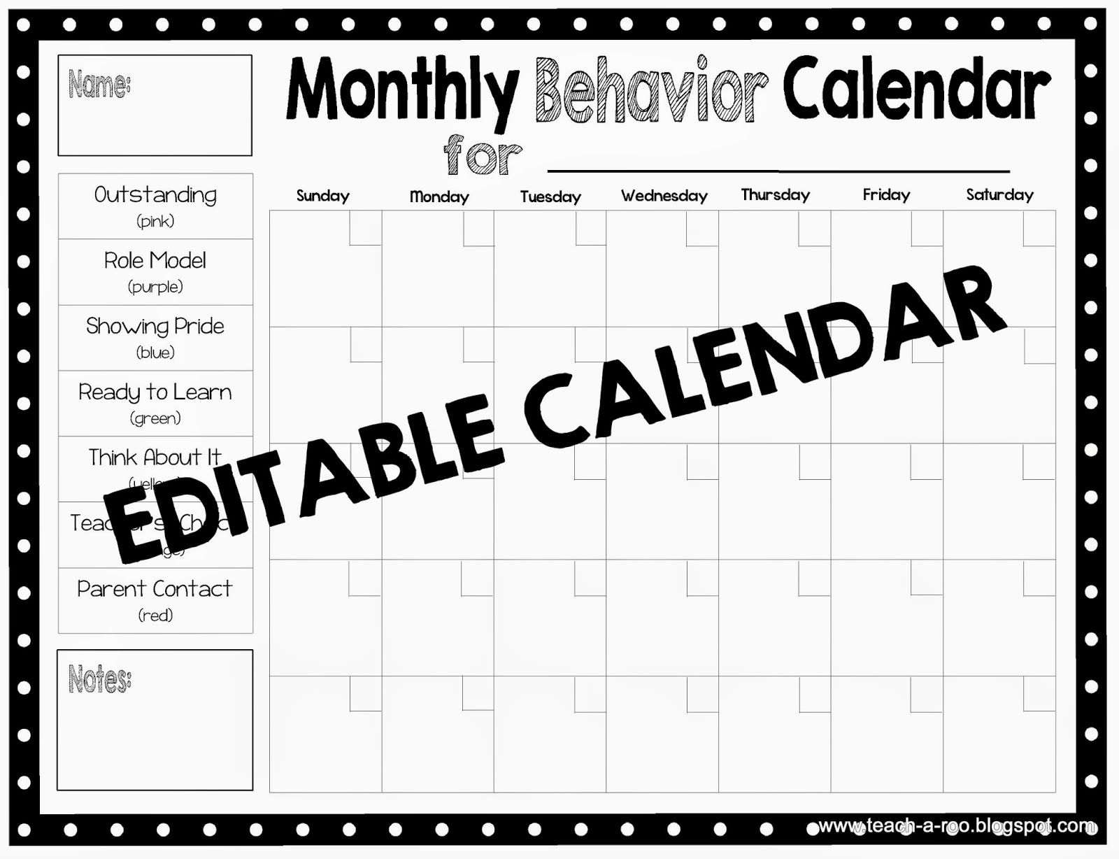Monthly Calendar Chart : Teach a roo clip charts and pbis