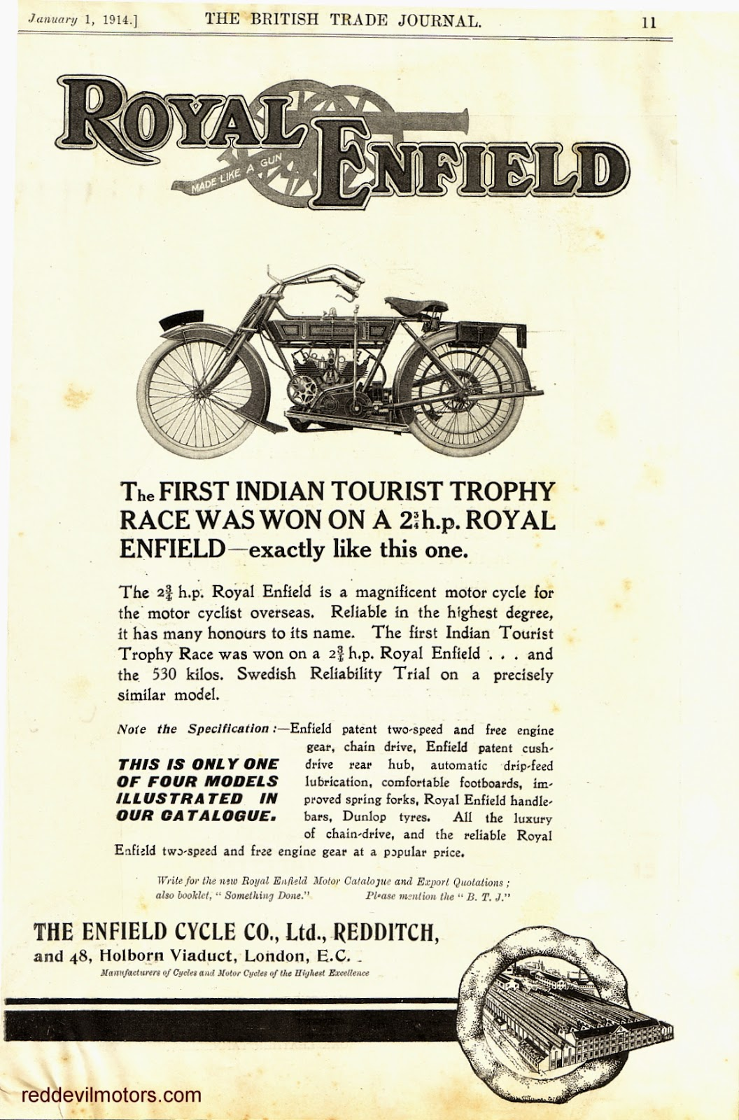 Advert for 1914 Royal Enfield v-twin