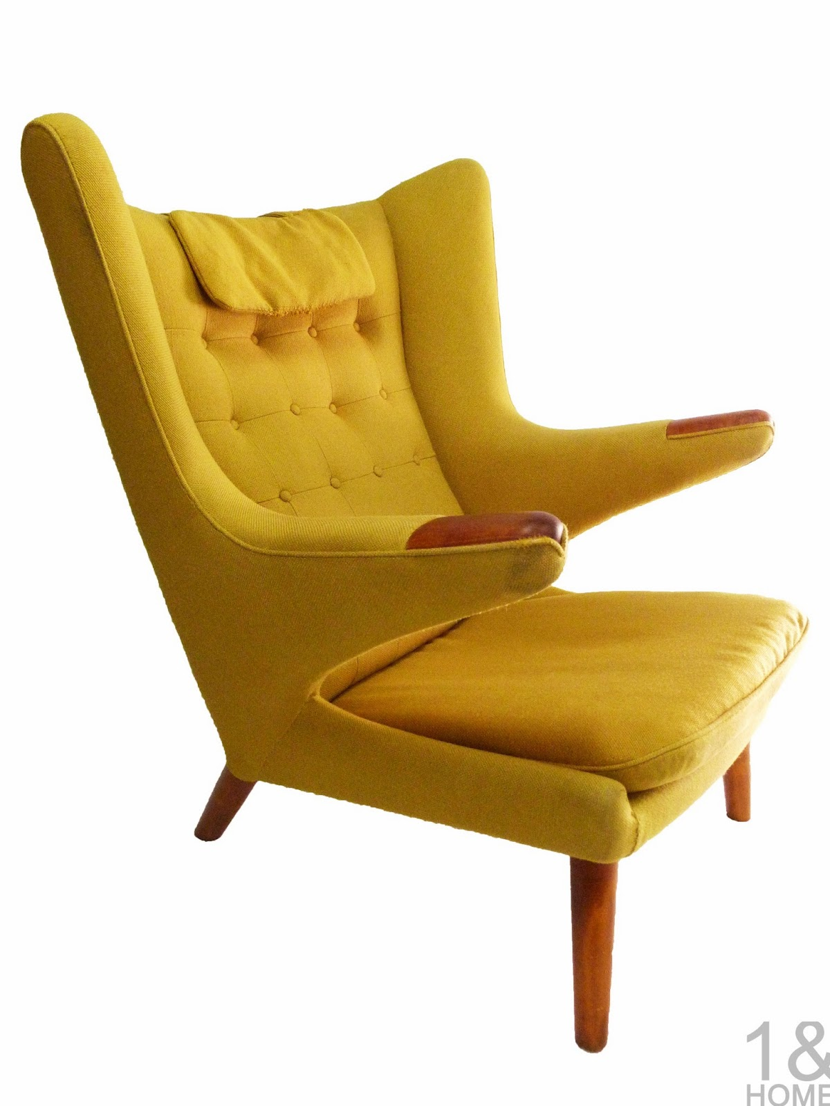 Yellow Original Papa Bear Chair Hans Wegner Povl Dinesen Danish Modern Chair