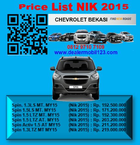 Harga Chevrolet Spin Bekasi NIK 2015