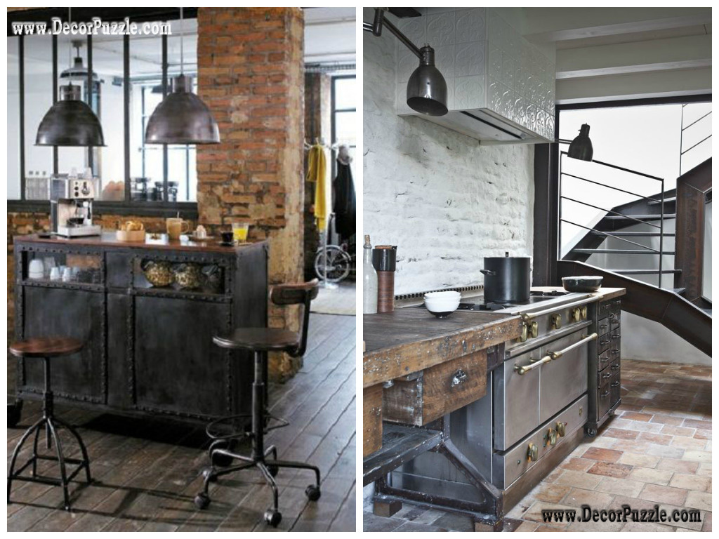 Chic Industrial Kitchen Style Decor on black kitchen cabinets with gray walls