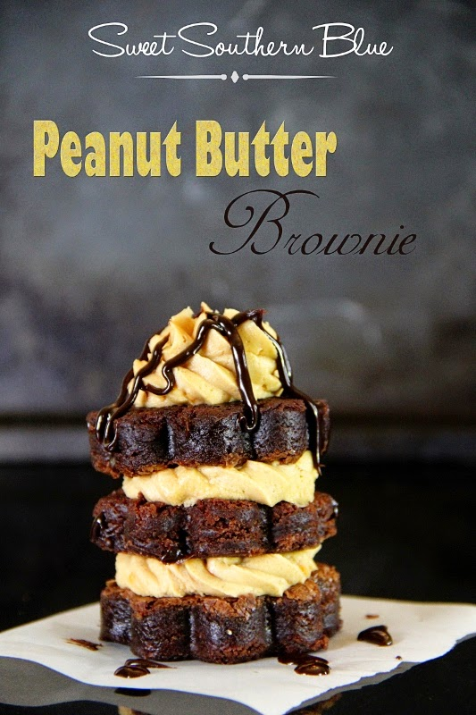 Peanut Butter Frosted Brownie Stacks, shared by Sweet Southern Blue