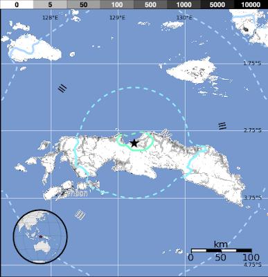 Epicentro sismo 5,6 grados, Seram, Indonesia, 27 de Noviembre 2012