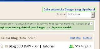 Dasboard Blogger Baru