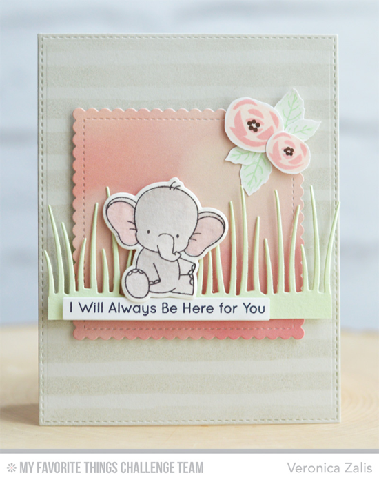 I Will Always Be Here for You Card by Veronica Zalis featuring the Birdie Brown Adorable Elephants stamp set and Die-namics, the Mini Modern Blooms stamp set, and the Tall Grassy Edge Die-namics #mftstamps