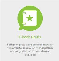 Setiap anggota yang berhasil menjadi tim affiliate maka blibli akan memberikan e-book gratis untuk menjalankan bisnis affiliate