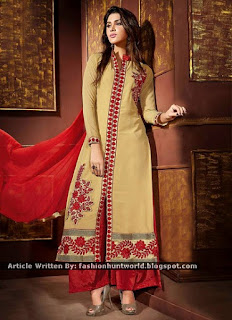 Beige Chiffon Double Bottom Shalwar Suits / Beige Embroidered Palazzo Suits