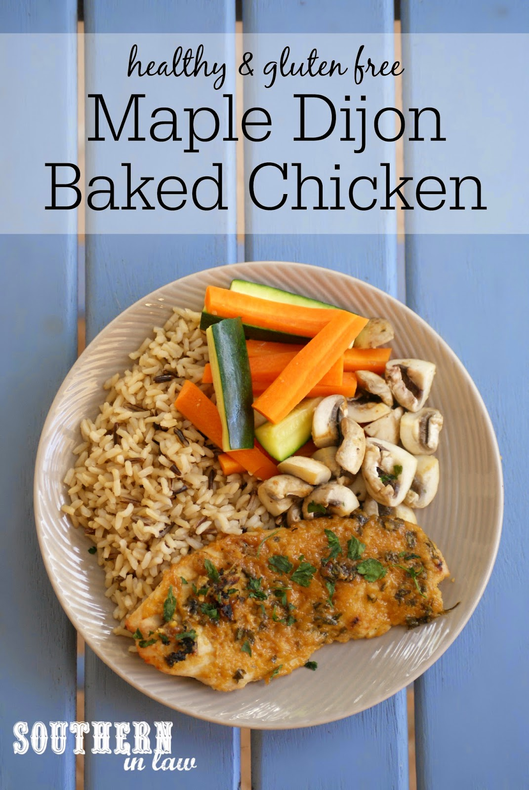 Healthy Maple Dijon Baked Chicken Recipe | low fat, gluten free, paleo, grain free, low calorie