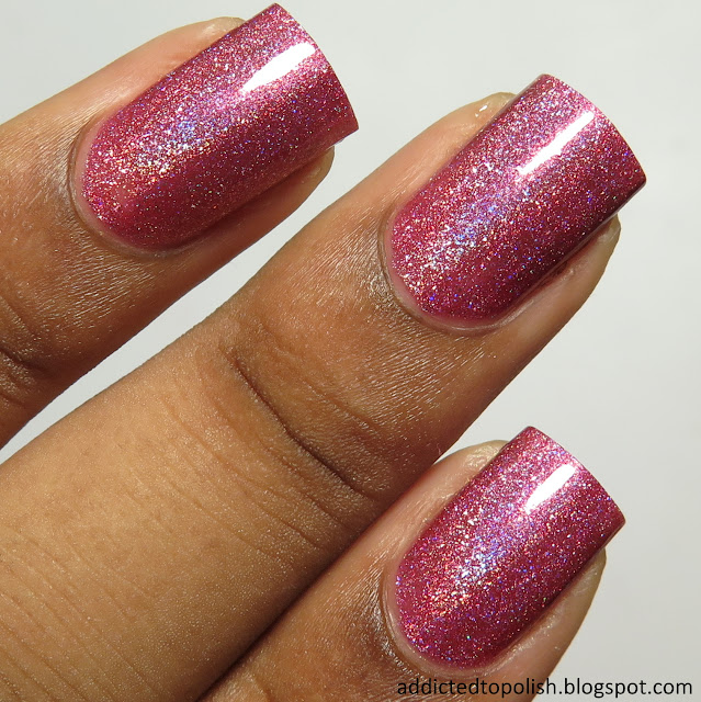 china glaze tickle my triangle pink scattered holo