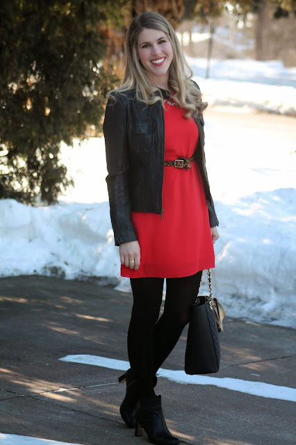 Belted Red dress layered with moto jacket