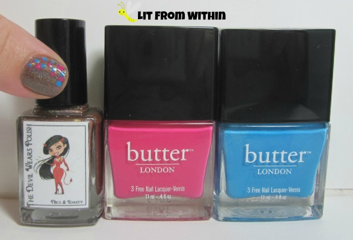 Bottle shot:  The Devil Wears Polish Nice & Toasty, Butter London Primrose Hill Picnic and Keks
